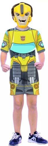 Fantasia Transformers Bumblebee Infantil Máscara Curta Nova