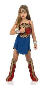 Fantasia Vestido Infantil Mulher Maravilha Bota Bracelete
