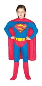 Fantasia Superman Infantil Luxo Super Homem Longo Cinto Capa