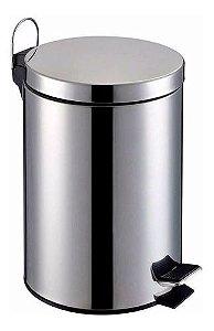 Lixeira 5 Litros Aco Inox Cesto De Lixo Removivel  C/ Pedal