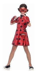 Fantasia Miraculous Ladybug Infantil Vestido Mascara Pochete