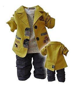 Conjunto Infantil Menino Casaco Calça + Camiseta Manga Longa