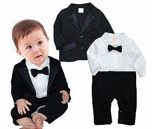 Conjunto Macacao Social (camisa Calca)+ Terno Bebe Festa 2pc