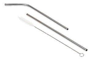 Kit 2 Canudos Inox +1 Escova De Limpeza Canudo Reutilizável