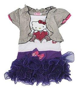 Vestido Infantil Hello Kitty Saia Tutu E Bolero Verão Menina