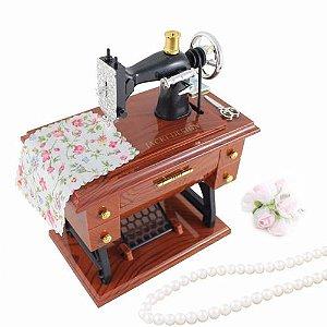 Maquina Costura Vintage Caixinha Música Porta Jóias