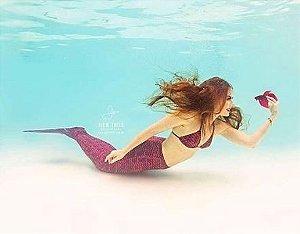 Cauda De Sereia C/ Nadadeira E Sapatinho Neoprene Calda Taina