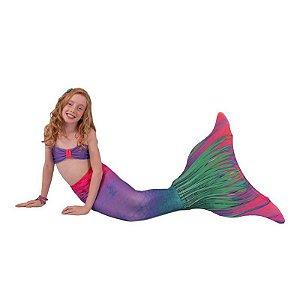 Cauda De Sereia C/ Nadadeira E Sapatinho Neoprene Calda  Aurora Boreal