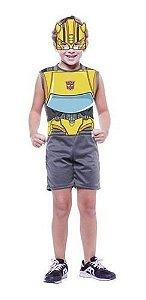 Fantasia Bumblebee Transformers Infantil Regata Pop Máscara