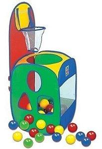 Toca Basket Ball Barraca Infantil Cesta 60 Bolinha Brinquedo