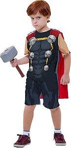 Fantasia Thor Manga Curta C/ Capa Martelo Infantil Original