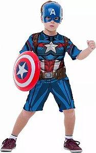 Fantasia Capitão America Infantil Curto Mascara Vingadores