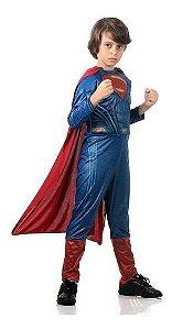 Fantasia Superman Infantil Super Homem Luxo Com Músculo Capa