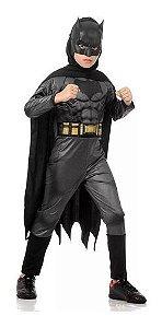 Fantasia Batman Infantil Longa Luxo Liga Da Justiça Musculos