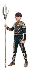 Fantasia Aquaman Infantil Longa Músculo Luxo Liga Da Justiça