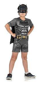 Fantasia Batman Infantil Curta Com Músculo Homem Morcego