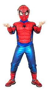 Fantasia Homem Aranha Luxo Peitoral Spiderman Máscara Filme
