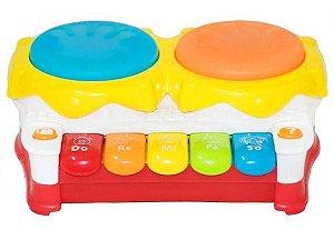 Tambor Piano Infantil Bateria Crianca Piano Musica E Luzes