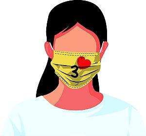 Máscara Tecido Estampada Reutilizável Emoji Kit 7 Peças