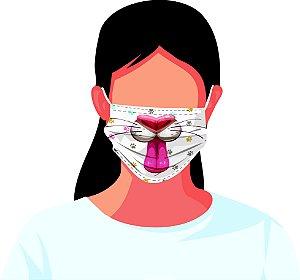 Máscara Tecido Estampada Reutilizável Bichinhos Kit 7 Peças