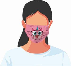 Máscara Tecido Estampada Reutilizável Personagens Desenho Animado Kit 7 Peças
