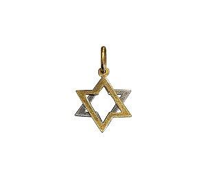 Pingente Estrela de David em Ouro 18k Amarelo e Branco