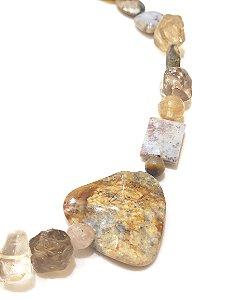 Colar de Pedras Cristal Rutilado, Jaspe, Ágata e Greengold