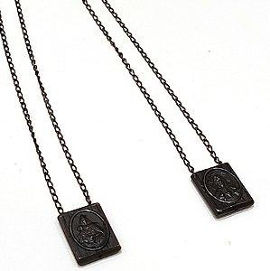 Escapulário Sagrado Coração de prata 925 com banho de ródio negro