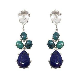 Brinco de Prata 925 com Cristal, Turquesa e Lápis Lazuli