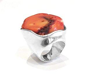 Anel de prata 925 com Pedra Coral