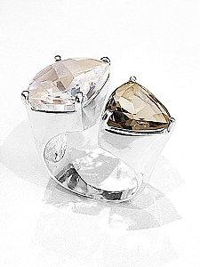 Anel de prata 925 com Pedra Cristal e Quartzo Fume