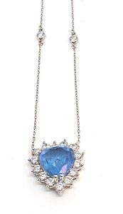 Corrente de Prata 925 com Pingente Coração com cristal Azul e  Zircônia