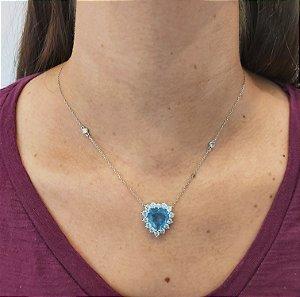 Corrente Prata 925 com Pingente Coração com Cristal Azul e  Zircônia