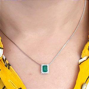 Corrente Prata 925 com Pingente  Cristal de Esmeralda e Zircônia