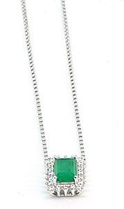 Corrente de Prata 925 com Pingente  Cristal de esmeralda e zircônia