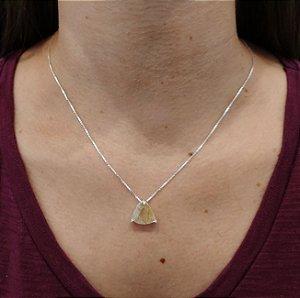 Corrente Prata 925 com Pingente e cristal rutilado