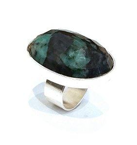 Anel de Prata 925 com esmeralda cabochão