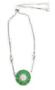 pulseira de prata com Agata Verde