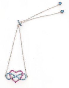 Pulseira modelo coração cravejado com nano turquesa e nano rubi