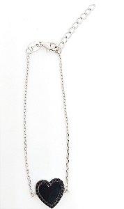Pulseira modelo coração em prata 925