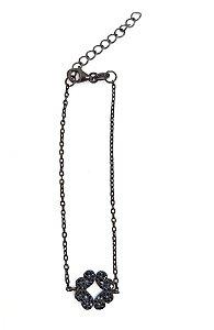 pulseira de prata 925 com ziconias negras