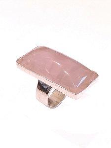 Anel de Prata com Pedra Quartzo Rosa