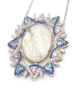 Corrente em prata modelo Nossa Senhora Aparecida