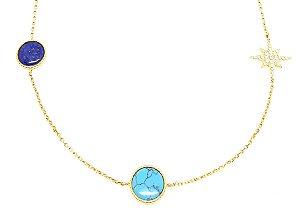 Corrente em prata 925 com Lapis Lazuli turquesa e Zirconias  com banho de ouro amarelo