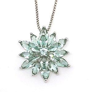 corrente de prata 925 com  flor de cristal Azul