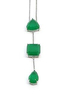 Corrente em prata 925 com cristal de Esmeralda
