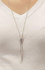 Corrente prata 925 com Água Marinha Fusion e cristal