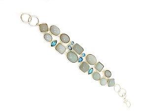 Pulseira em prata 925 com pedras Naturais de Agua marinha e Topazio azul