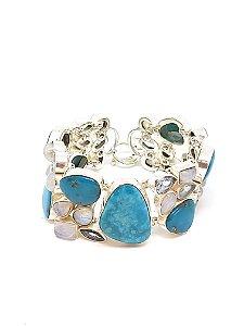 Pulseira em prata 925 com Turquesa, Pedra da Lua e Topázio Azul