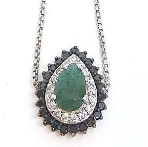 pulseira em prata 925 com cristal de  esmeralda
